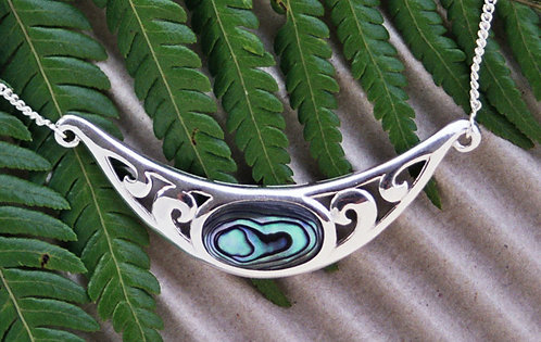 "Beautiful ""Koru-Frond"" NZ Paua Shell Sterling Silver Necklace  3006"