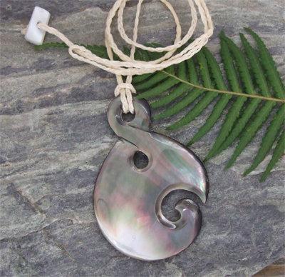 "Black Pearl Shell Carved Pendant ""Koru-Twisted"" (98102)"