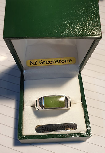 """""""Strong Jade"""" NZ Jade Silver Ring, size R, S T & V - G7068A"""