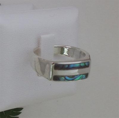 """Water"" Paua Ring in Sterling - 7048Bx"