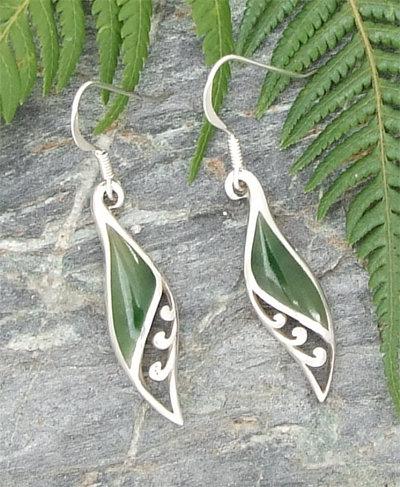"Sterling""Koru-Frond"" NZ Greenstone Design Earring  G2368"