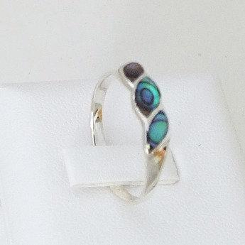 Three Sisters Sterling Silver Paua Ring - 7035Bx