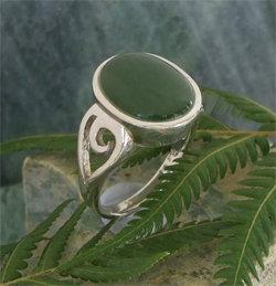 """Koru-Frond"" NZ Pounamu Sterling Silver Ring G7303A"
