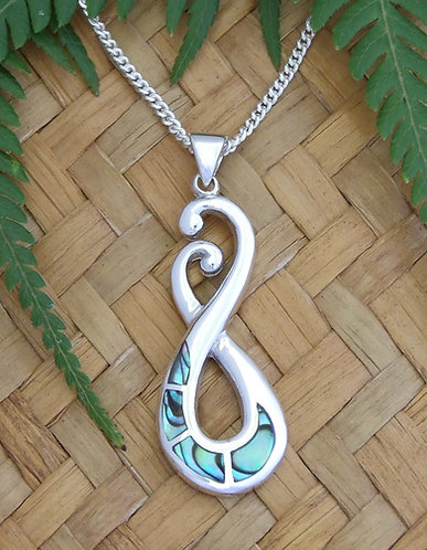 "Beautiful Gift ""Two-Swans"" NZ Jewellery Paua Shell Sterling Pendant  3092"