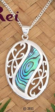 "NZ Jewellery ""Mermaid's Dream"" Paua Shell Sterling Silver Pendant  3087"