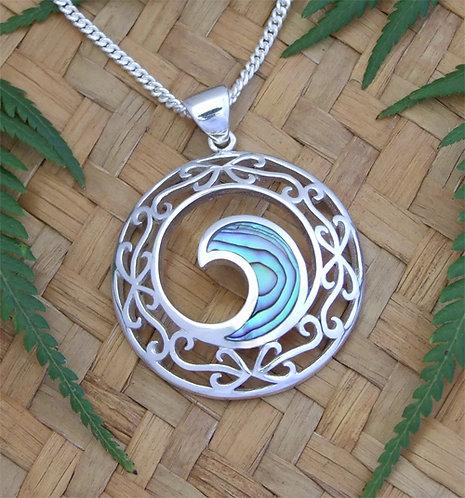 "Beautiful Gift ""Neptune's Window"" NZ Paua Shell Sterling Silver Pendant   3093"