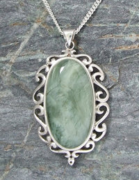 """ Te Awa"" NZ Greenstone Sterling Silver Pendant + Chain G3403"