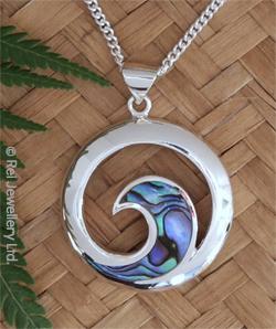 """ NZ Yin-Yang"" NZ Paua Shell Sterling Silver Pendant  3074"