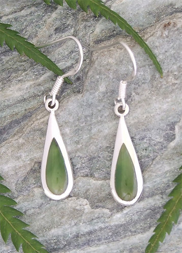 Simply NZ Greenstone Silver Hook Earring G2365