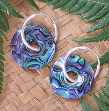 Carved Paua Shell Earring-Silver Sleeper 2222