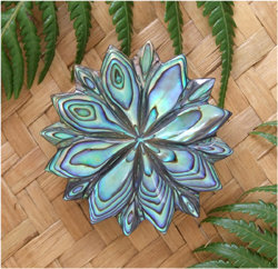 Carved Paua Shell Brooch - Star (6023bx)