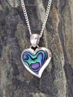 """Paua Love Heart""  NZ Paua Shell Sterling Silver Pendant  3068"
