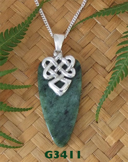 "NZ Greenstone Silver Pendant ""Warrior Face"""
