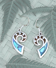 Rei Jewellery - Koru Frond -NZ Jewelry - Original design by Ray Fransham - NZ Abalone - New Zealand Paua Silver Earring (2376bx) - online shop