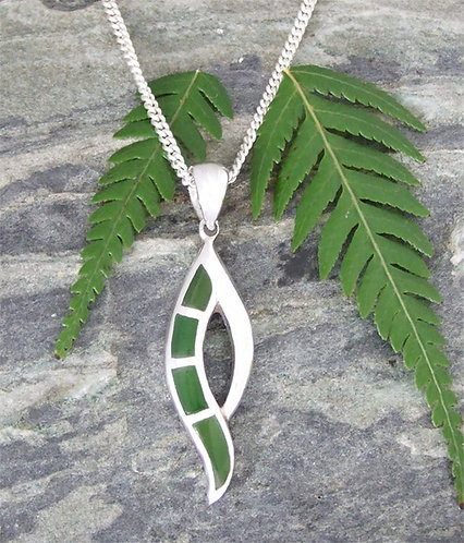 """Harmony"" NZ Greenstone Silver Pendants & Chain G3407"
