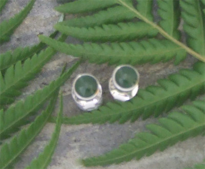 """""""Little Beauty"""" NZ Jade Sterling Silver Stud Earrings G2152"""
