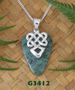 """Warrior Face"" NZ Greenstone Silver Pendant G3412"