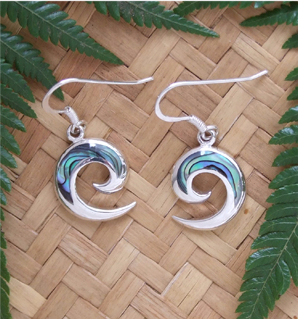 """Open Koru"" Sterling Silver NZ Paua Earrings 2360bx"