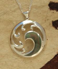 """Tangaroa"" Black Pearl Sterling Pendant & Silver Chain (93064bx)"