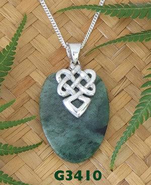 "NZ Greenstone Silver Pendant ""Warrior Face"" G3410"
