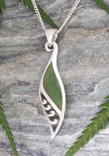 """Hopes"" NZ Greenstone Sterling Pendant & Silver Chain  G3404"