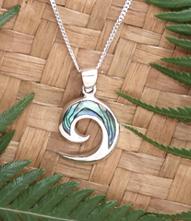 """Koru"" NZ Paua Shell Sterling Silver Pendant  3076"
