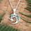 "Thumbnail: ""Koru"" NZ Paua Shell Sterling Silver Pendant  3076"