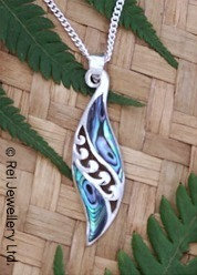 "Beautiful ""Angels Wings"" NZ Paua Shell Sterling Silver Pendant  3061"