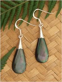 Black Pearl Shell Silver Earring - 92192bx