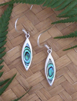 Sterling Silver-NZ Paua Shell Earrings 2366bx
