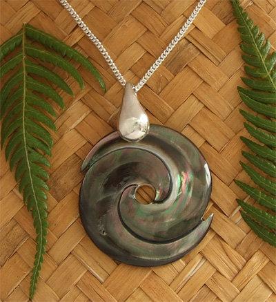 """Whirlpool"" Black Pearl Shell Pendant (98873BX)"