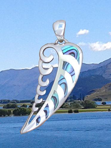 "Rei ""Wave-Frond"" NZ Jewellery Paua Shell Sterling Silver Pendant  3089"