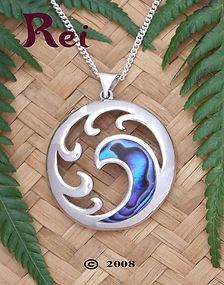 """3064 """"Tangaroa"""" NZ Paua Shell Pendant Sterling Silver By Rei Jewellery Ltd"""