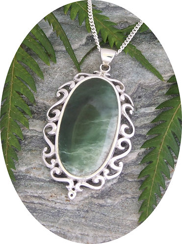 "Special One Of ""The Mirror"" NZ Pounamu Silver Pendant G3403bx"