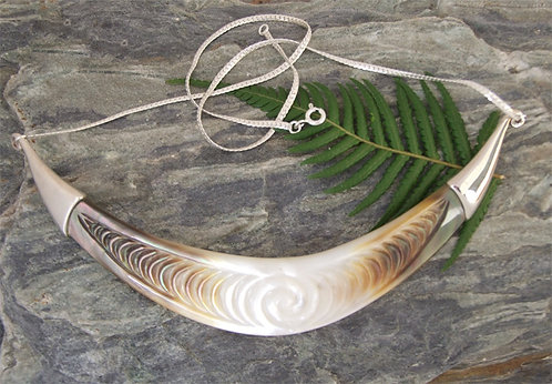 """Koru Waves"" Black Pearl Sterling Silver Necklace"