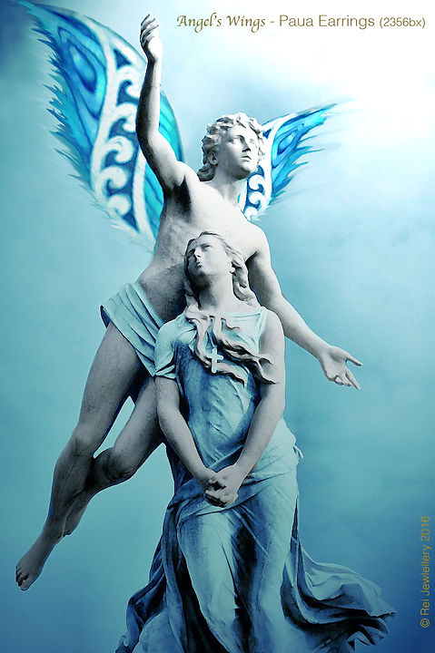 """Rei Jewellery Ltd """"Angel's Wings""""An Original Design by Ray Fransham - NZ Paua Sterling Silver Earrings (2356bx)"""