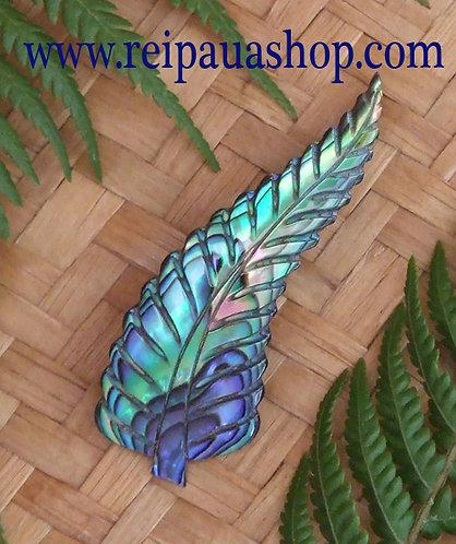 NZ Hand Carved Paua Fern Brooch (6065bx)