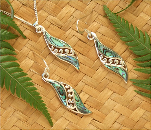 "Beautiful Gift""Angles Wings"" Sterling Silver Paua Pendant & Earring Set110"