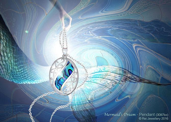 Rei Jewellery - Mermaid's Dream - NZ Paua Silver Pendant & Chain (3087bx)) - online shop