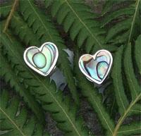 """""""Sweet-Heart""""Sterling Silver NZ Paua Stud Earring 2154bx"""
