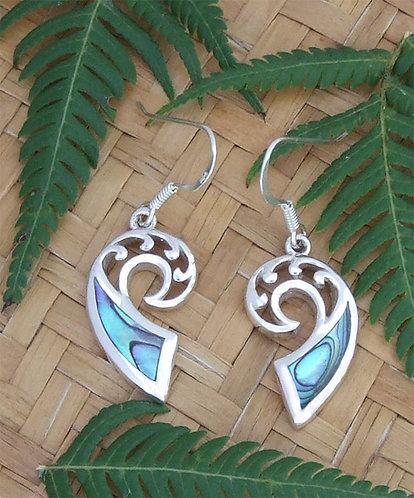 """""""Koru-Frond"""" Sterling Silver Paua Earrings 2376"""