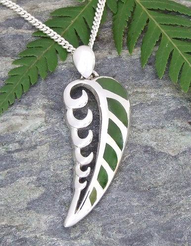 "Rei niho - ""Wave Frond"" NZ Pounamu Sterling Silver Pendant  G3408"