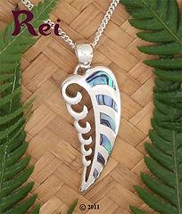 """Rei Jewellery - """"Wave Frond"""" - Paua pendant"""