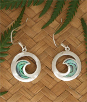 """Koru Moon"" NZ Jewelry Sterling Silver Paua Shell Earrings 2367bx"