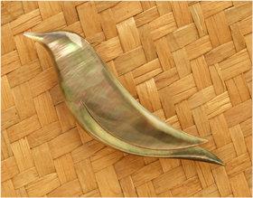 "Black Pearl Shell Brooch ""Black Bird"" 96055bx"