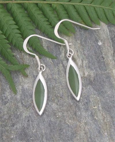 NZ Greenstone Sterling Silver Hook Earring G2366