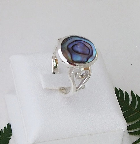 """Love Koru"" Sterling Silver NZ Paua Shell Ring - 7303Bx"