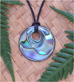 NZ Craved Paua Shell Pendant  8065bx