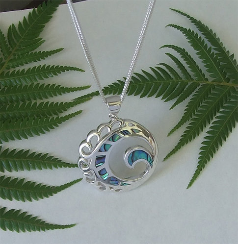 "Our ""Home"" NZ Jewellery Sterling Silver Paua Pendant  3131"