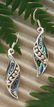 """Angels Wings"" Sterling NZ Paua Earring 2356bx"